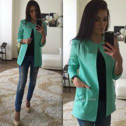 Пиджак Шанель , кардиган, размер 42, S, цвет мята, новый