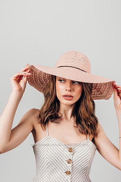 Летняя пляжная ажурная широкополая шляпа