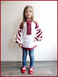 Детская вышитая туника, блуза с хлопковым кружевом под заказ