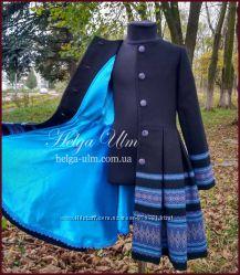 Пальто для дівчинки в етностилі Верховина чорно блакитне
