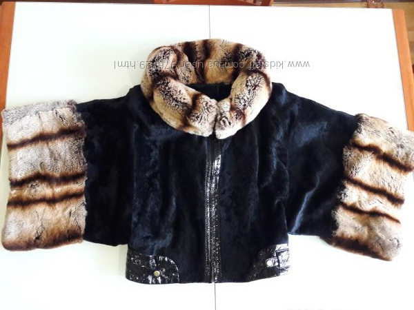 Куртка полушубок Elibol Италия мех пони и шиншила, Новая коллекция