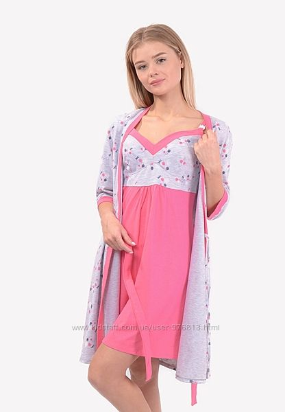 Комплект халат и сорочка для беременных и кормящих