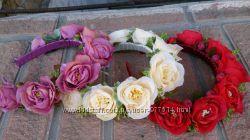 Обруч, венок, ободок, ягоды, калина, цветы