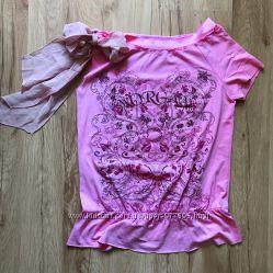 Роскошная розовая футболка блуза от французкого бренда MORGAN