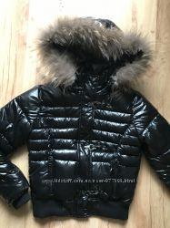 Гламурная лаковая куртка с капюшеном натур мех от GAIALUNA Италия