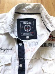 Брендовая французкая рубашка с вышивкой и нашивками  для парня 10-12 лет
