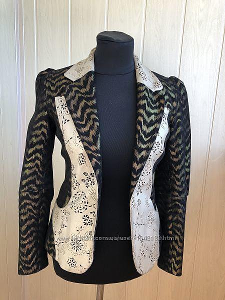 Дизайнерский пиджак Натуральная кожа и замша натуральная Лазерная вырезка