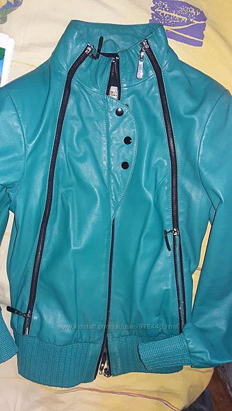 куртка бирюза, кожа, новая