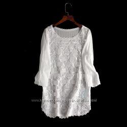 Супер красивая белая блузка с вышивкой