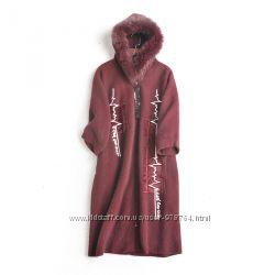 Шикарное модное пальто с капюшоном