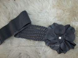 новый необычный пояс женский с цветком и плетением