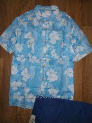 натуральна лляна літня сорочка з коротким рукавом
