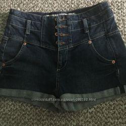 Шорты джинсовые , высокая талия, xs