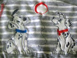 Костюмчик из велюра с вышивкой Далматинчики на кнопках ТМ Ляля унисекс
