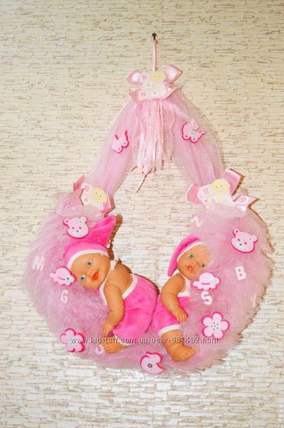 Шикарный венок пупс подарок на рождение девочки. Германия