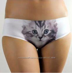 Бесшовные трусики-шортики с котиком