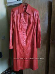 Новый красный кожаный кардиган 48-50р