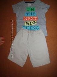 Бриджи NEXT и футболка H&M на мальчика 3-6 месяцев