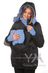 Куртка зимняя 3в1 до -30 градусов арт 801210 черная с голубым Ямми Мамми