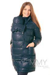 Пуховое пальто зимнее 3в1 до -40 градусов арт 80624 темно-синее -Ямми Мамми