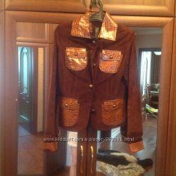Натуральная замшевая куртка- пиджак S