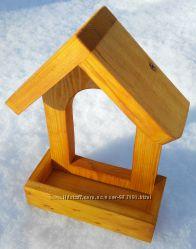 Кормушка для птиц деревянная для сада Годівничка для птахів