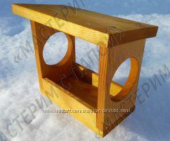 Кормушка для белочек и птиц деревянная для сада Годівничка для птахів