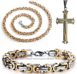 12f5d756e1a9 Мужской набор цепочка, браслет, крест 3 вида Подарок, 410 грн ...