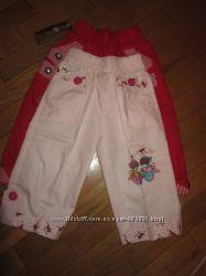 Бриджи-шорты новые на 3-5 лет, красные и розовые