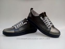 Туфли-спортивные, кеды S-13y. Кожа. Серый.