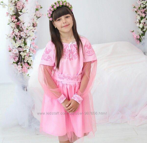 Красивое оригинальное вышитое платье, вышиванка с фатином