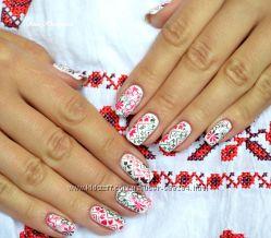 Фото-дизайны для ногтей, слайдеры новогодние, украинские и другие принты.