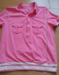 Розовая футболка с воротничком