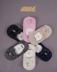 Махровые тапочки-носочки с бантиком
