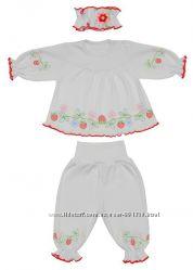 Крестильный комплект девочке  с вышивкой р. 20-24, интерлок