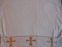 Крыжма  с  крестиками и ангелочками70140 махра, Турция