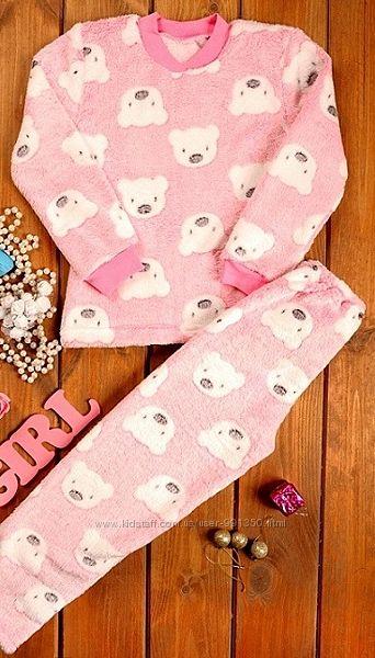 Пижама теплая для девочки рост 122, велсофт