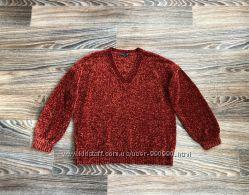 Новый очень мягкий плотный плюшевый бордовый велюровый свитер кофта F&F