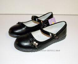Черные школьные детские туфли для девочек Том 32-36