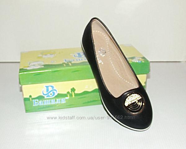 Туфли слиперы балетки для девочек черные 30 - 33