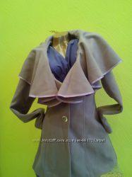 Красивое кашемировое пальто с воротом цвет сирень S, L