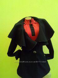 Красивое кашемировое пальто с воротом цвет черныйS