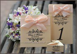 Свадебные приглашения, номера на столы и другое