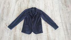 Удобный школьный пиджак темно - синий трикотажный