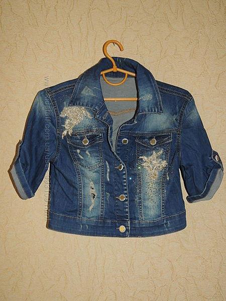 Джинсовая нарядая курточка cracpot с эффектным декором