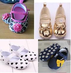 Обувь для самых маленьких, для девочки. Пинетки, туфельки,  5 видов.