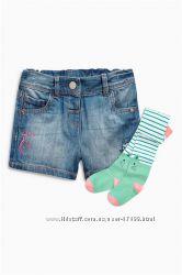 Комплект джинсовые шорты  колготы Next, р. 3-6 мес