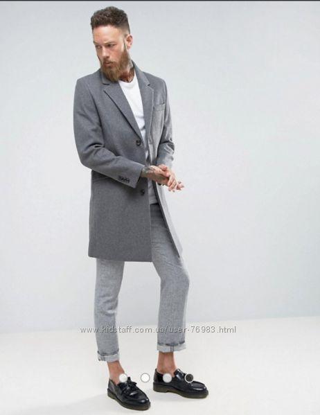 Элегантное уютное мужское демисезонное пальто Next  из шерсти