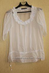 батистовая белая блуза-туника  Zara, футболка Steilmann