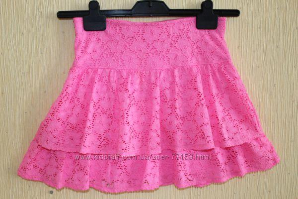 Ярко-розовая гипюровая юбочка H&M, разм. 158-164